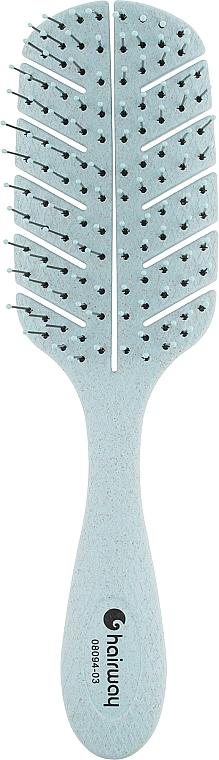 Щетка для волос массажная, 10-рядная, голубая - Hairway Eco Corn
