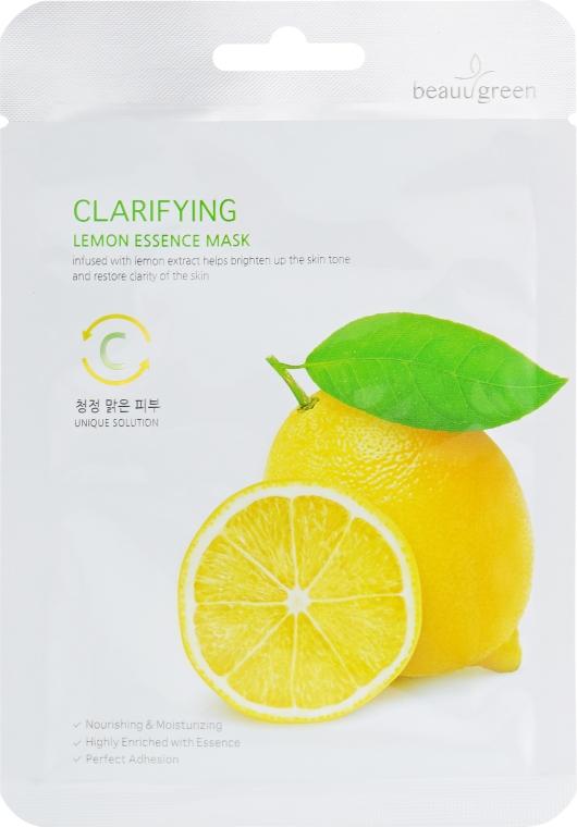 Очищающая тканевая маска для лица c экстрактом лимона - BeauuGreen Lemon Essence Mask — фото N1