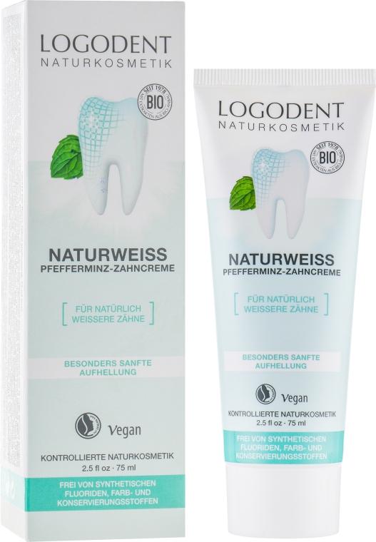 БИО-паста зубная отбеливающая - Logona Logodent Naturweiss Peppermint Toothpaste