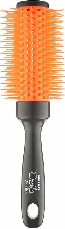 Расческа массажная для сушки феном круглая, оранжевая - Beter Deslia Hair Flow