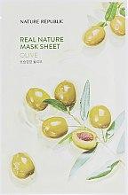 Духи, Парфюмерия, косметика Тканевая маска для лица с экстрактом плодов оливы - Nature Republic Real Nature Mask Sheet Olive