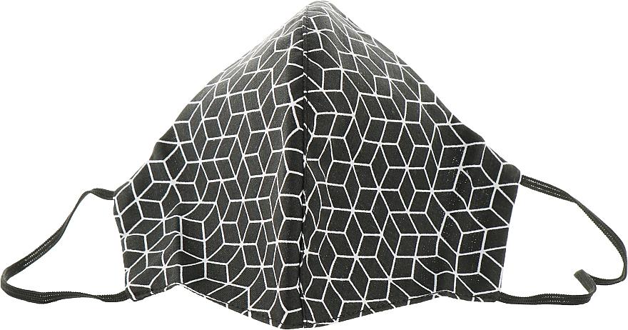 """Маска тканевая-защитная для лица, черная """"Принт модули"""", размер М - Gioia"""