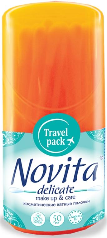 Палочки ватные в круглой банке, моноблок 50шт, оранжевая - Novita Delicate