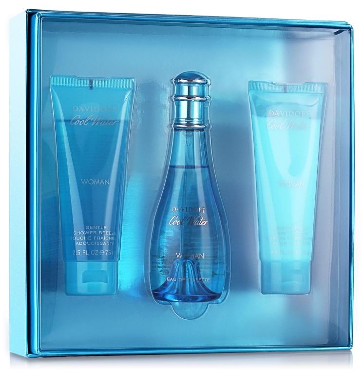 Davidoff Cool Water Woman - Набор (edt/100ml + b/lot/75ml + sh/gel/75ml)