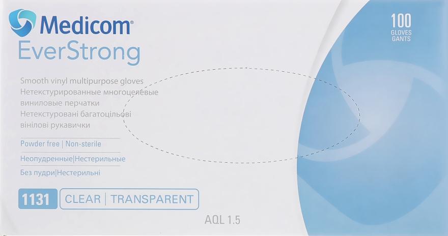 Перчатки виниловые, прозрачные, размер S - Medicom SafeTouch EverStrong