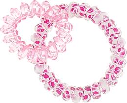 Духи, Парфюмерия, косметика Резинки для волос, 414562, белая с фуксией + прозрачно-розовая - Glamour