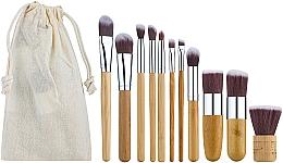 Духи, Парфюмерия, косметика Профессиональный эко-набор бамбуковых кистей для макияжа 11 шт в холщовом мешочке - King Rose
