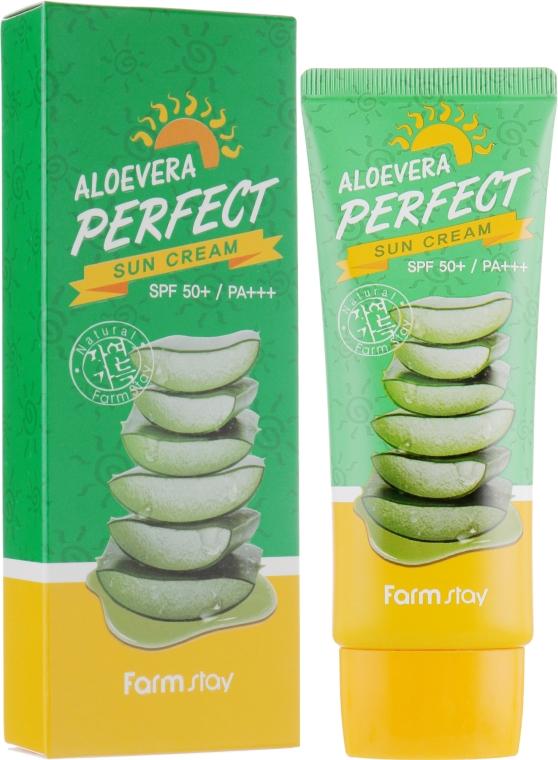Солнцезащитный крем с Алоэ SPF50+ - FarmStay Aloevera Perfect Sun Cream SPF50+ PA+++