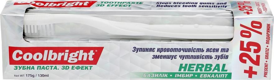 Набор лечебный, белый - Coolbright Herbal (toothpaste/130ml + toothbrush/1pcs)