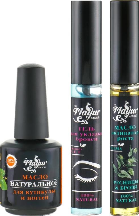 """Подарочный набор для бровей, ресниц и ногтей """"Стайлинг и уход"""" - Mayur (gel/12 ml + oil/12 ml + oil/15 ml)"""