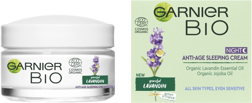 Ночной антивозрастной крем для лица с экстрактом лавандину - Garnier Bio Lavandin Anti-Age Sleeping Cream