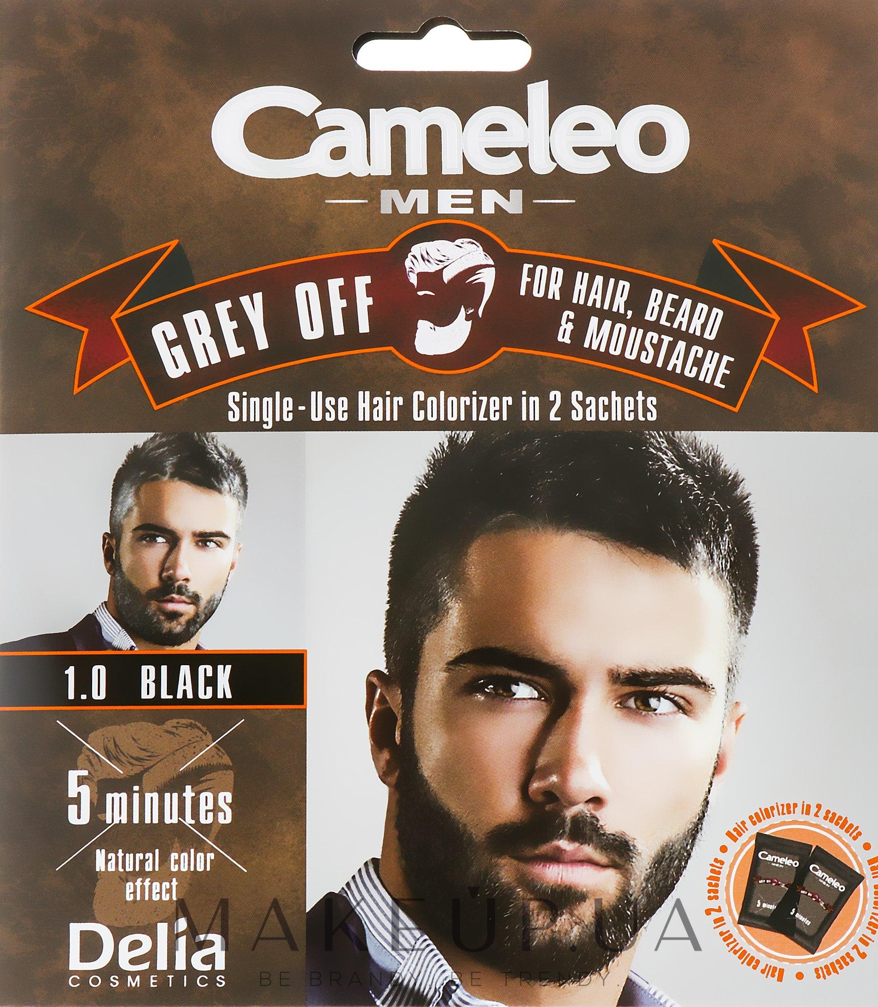 Мужская краска для волос, борды и усов - Delia Cameleo Grey Off — фото 1.0 - Black
