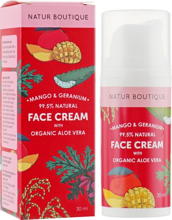 Крем для лица с органическим алоэ и геранью, восстановление и увлажение - Natur Boutique Mango Geranium Aloe Vera Face Cream