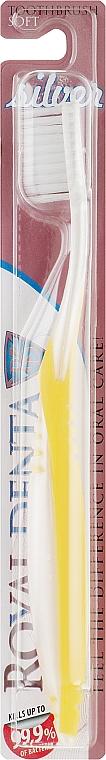 Мягкая зубная щетка с серебром для чувствительных зубов и при заболеваниях десен, желтая - Royal Denta Silver Soft Toothbrush