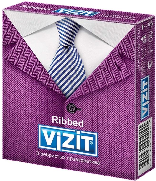 """Презервативы """"Ribbed"""", ребристые, 3шт - Vizit"""