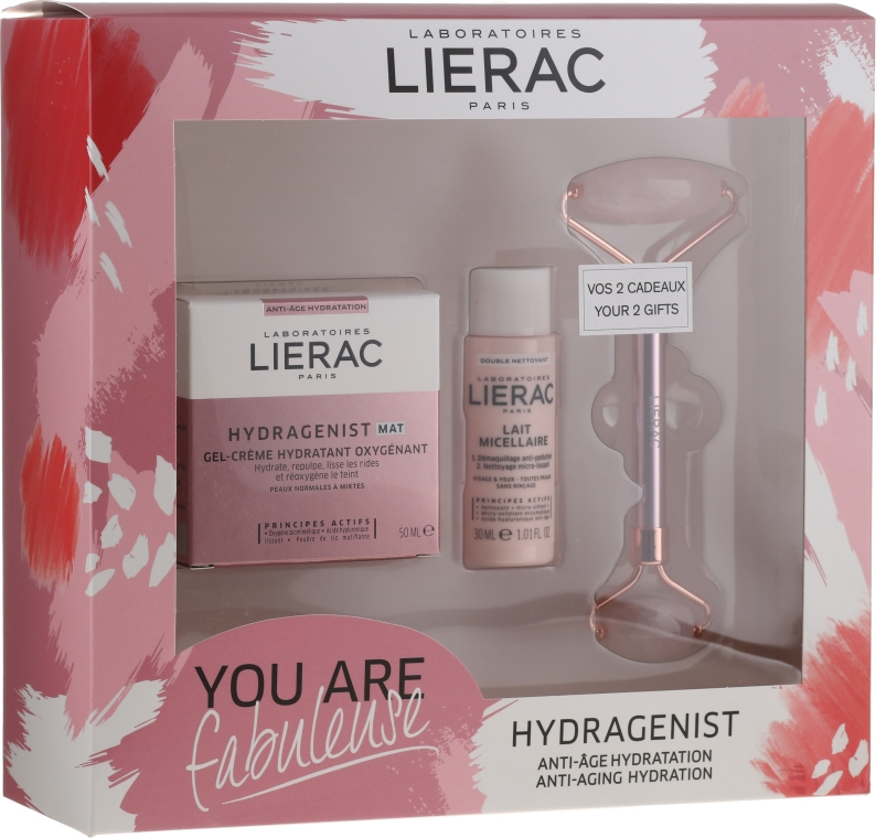 Набор - Lierac Hydragenist (cr/50ml + f/milk/30ml + roller/1)