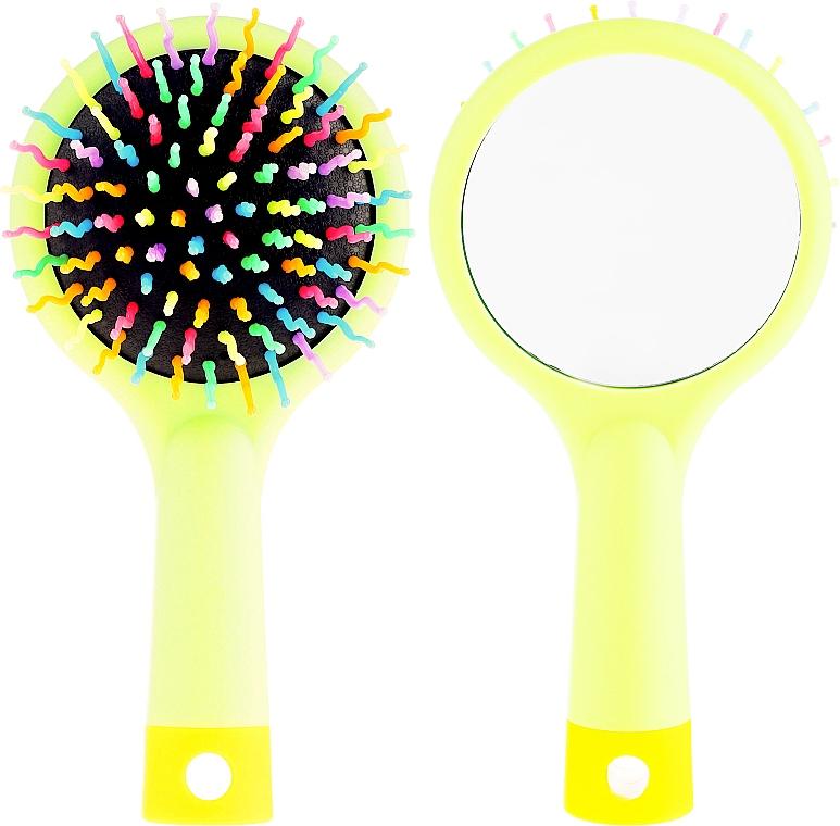 Щетка для волос с зеркальцем, салатовая - Twish Handy Hair Brush with Mirror Spring Bud