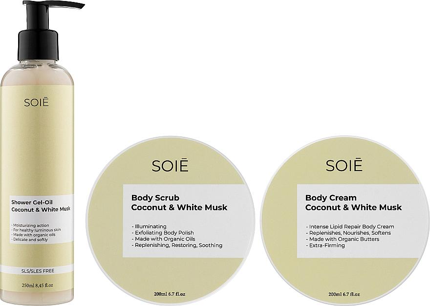 Набор - Soie Coconut & White Musk M (show/gel/250ml + b/scrub/200ml + b/cr/200ml)