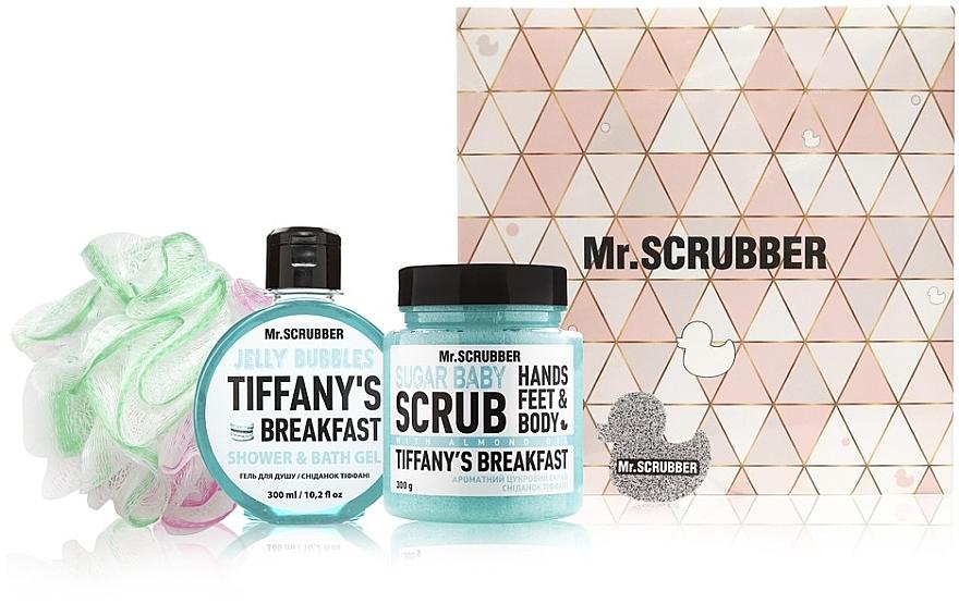 """Набор - Mr.Scrubber """" Tiffany's Breakfast"""" (body/scr/300 g + sh/gel/275 ml + sh/sponge)"""