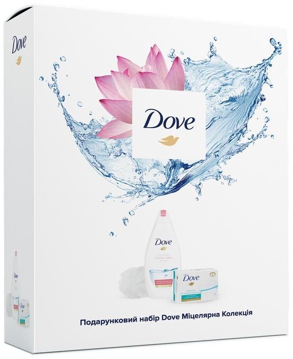 """Подарочный набор """"Мицеллярная коллекция"""" - Dove (soap/100g+sh/gel/500ml+sponge)"""