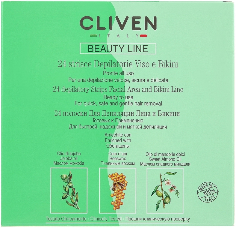 Полоски для депиляции лица и зоны бикини - Cliven Beauty Line Strips
