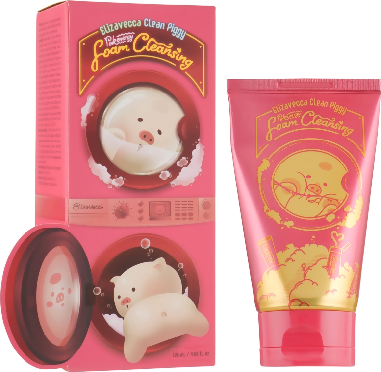 Пенка для умывания - Elizavecca Clean Piggy Pink Energy Foam Cleansing