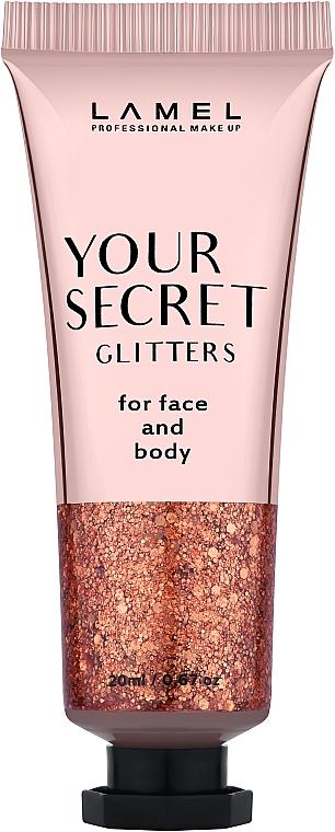 Жидкий глиттер для макияжа - Lamel Professional Your Secret Glitters