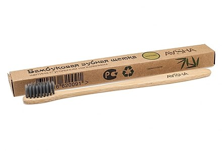 Бамбуковая зубная щетка с угольной щетиной, мягкая - Aasha Eco-friendly