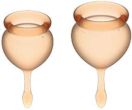 Духи, Парфюмерия, косметика Набор менструальных чаш c хвостиком-капелькой, оранжевый - Satisfyer Feel Good Menstrual Cup Orange
