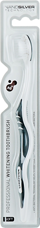 Зубная щетка c частичками серебра, антибактериальный эффект, мягкая, бело-серая - WhiteWash Laboratories Whitening Toothbrush