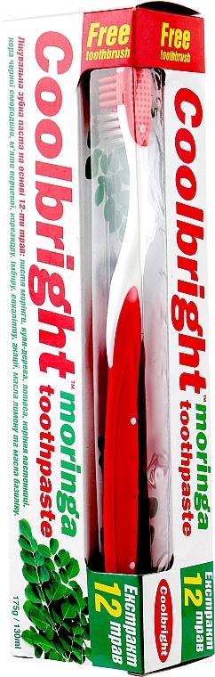 """Набор """"Экстракт Моринги"""", красный - Coolbright Moringa (toothpaste/130ml + toothbrush/1pcs)"""