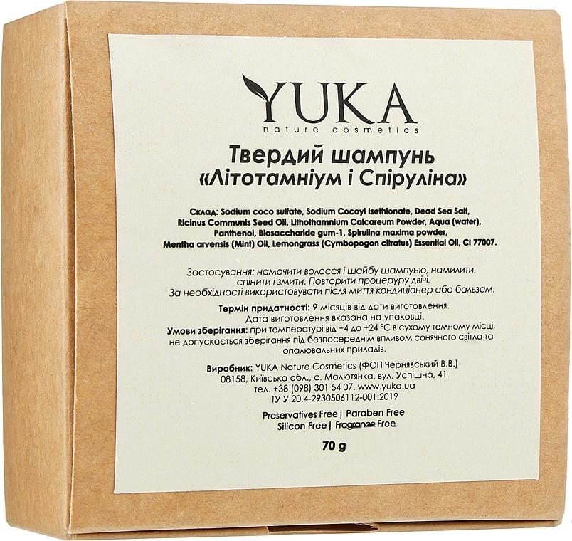 """Твердый шампунь для волос """"Литотамний и спирулина"""" - Yuka"""
