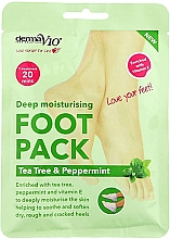 Духи, Парфюмерия, косметика Увлажняющая маска-носочки для ног - Derma V10 Foot Pack Tea Tree&Peppermint Deep Vegan Moisturising Exfoliating