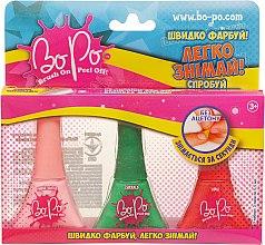 Духи, Парфюмерия, косметика Набор лаков для ногтей 3шт, светло-розовый, зеленый, оранжевый - BoPo