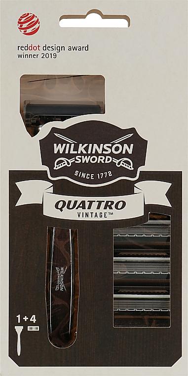 Станок для мужчин с 4 картриджами - Wilkinson Sword Quattro Vintage Edition