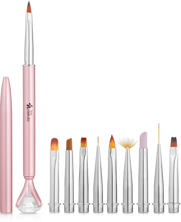 Набор ручка со сменными кистями, розовый - Nails Molekula
