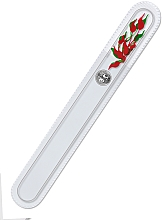 Духи, Парфюмерия, косметика Пилочка стеклянная двухсторонняя, 195 мм, с красной росписью - Bohemia Czech Glass Nail Files