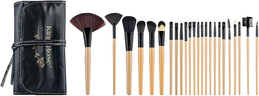 Набор кистей для макияжа в черном чехле, 24 шт - King Rose Professional Makeup