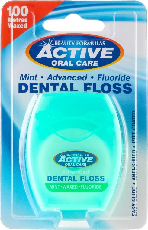 Межзубная нить с мятой и фтором - Beauty Formulas Active Oral Care Dental Floss Mint Waxed + Fluor 100m — фото N1