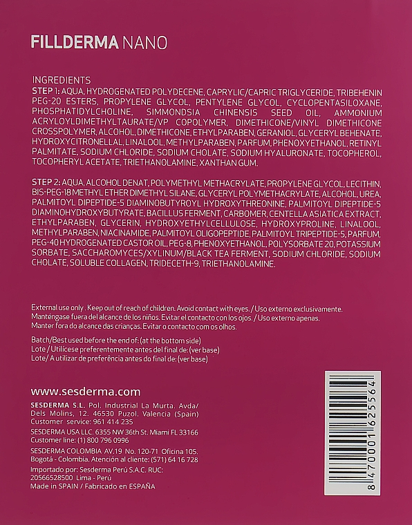 Двохшагова система заповнення зморшок без ін'єкцій - SesDerma Laboratories Fillderma nano Wrinkle Filling System — фото N3