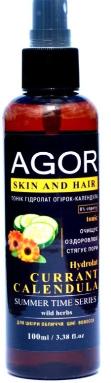 "Тоник ""Гидролат огурец-календула"" - Agor Summer Time Skin And Hair Tonic"