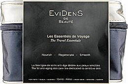 Духи, Парфюмерия, косметика Набор - EviDenS De Beaute The Travel Essentials Kit (milk/30ml + ser/2.5ml + lot/30ml + cr/10ml + mask/10ml + eye/ser/2/5ml + bag)