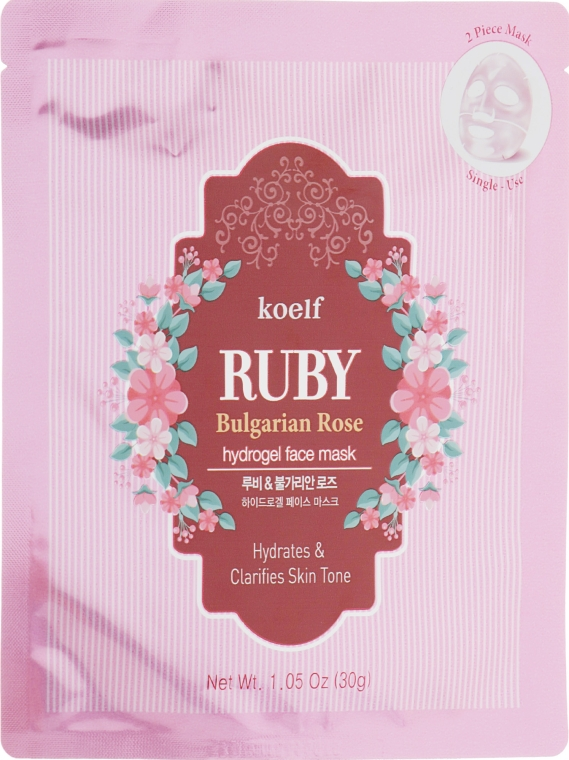 Гидрогелевая маска для лица с рубином - Petitfee&Koelf Ruby & Bulgarian Rose Hydro Gel Mask
