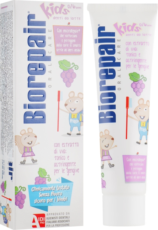 "Зубная паста ""Веселый мышонок"" виноград - Biorepair Kids Milk Teeth"