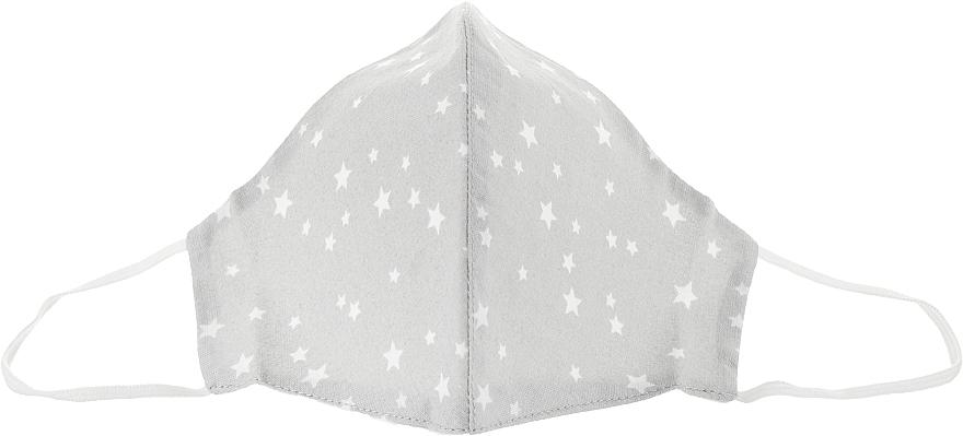 Маска тканевая-защитная для лица, серая с мелкими звездами, размер М - Gioia