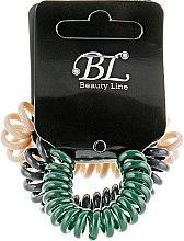 Духи, Парфюмерия, косметика Набор резинок для волос, 405004, бежевая+зеленая+темно-серая - Beauty Line