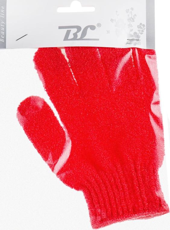 Мочалка-перчатка банная, красная - Beauty Line