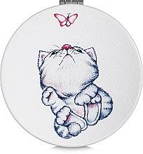 Духи, Парфюмерия, косметика Зеркало косметическое круглое, котенок с бабочкой - Lily Cosmetics