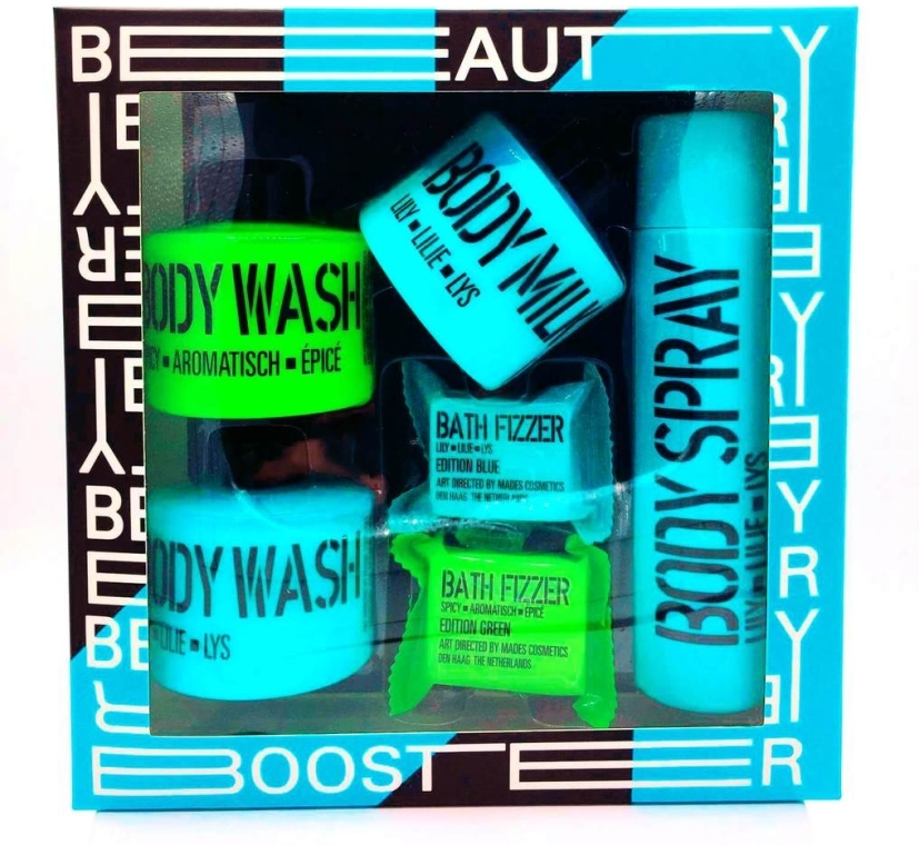 "Косметический набор ""Усилитель Красоты"" - Mades Cosmetics Beauty Booster (sh/gel/2x100ml + b/milk/100ml + b/spray/100ml + bath/tablet/2x20g)"