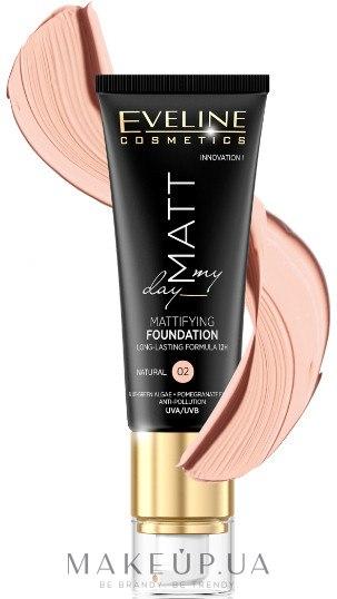 Тональный крем с матовым эффектом - Eveline Cosmetics Matt My Day Mattifying Foundation — фото 02 - Natural